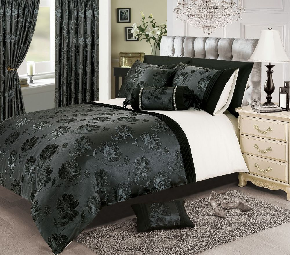 BLACK SILVER WHITE COLOUR STYLISH FLORAL JACQUARD DUVET COVER LUXURY BEAUTIFUL GLAMOUR BEDDING